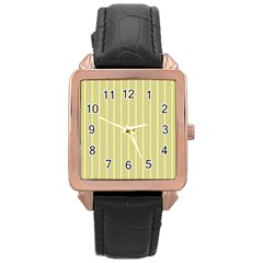 Summer Sand Color Yellow Stripes Pattern Rose Gold Leather Watch  by picsaspassion