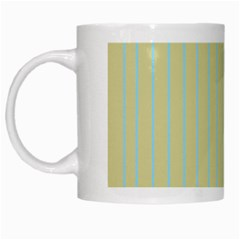 Summer Sand Color Blue Stripes Pattern White Mugs by picsaspassion