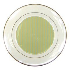 Summer Sand Color Blue Stripes Pattern Porcelain Plates by picsaspassion