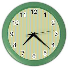 Summer Sand Color Blue Stripes Pattern Color Wall Clocks by picsaspassion