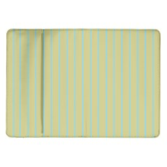 Summer Sand Color Blue Stripes Pattern Samsung Galaxy Tab 10 1  P7500 Flip Case by picsaspassion
