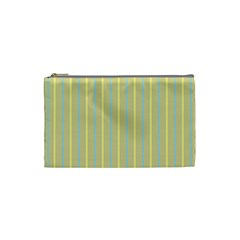 Summer Sand Color Blue And Yellow Stripes Pattern Cosmetic Bag (small)  by picsaspassion