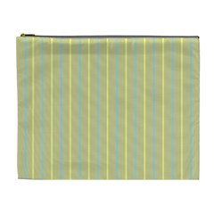 Summer Sand Color Blue And Yellow Stripes Pattern Cosmetic Bag (xl) by picsaspassion