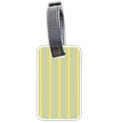 Summer Sand Color Blue And Yellow Stripes Pattern Luggage Tags (one Side)  by picsaspassion