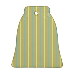 Summer Sand Color Blue And Yellow Stripes Pattern Bell Ornament (2 Sides) by picsaspassion