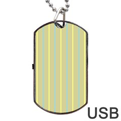 Summer Sand Color Blue And Yellow Stripes Pattern Dog Tag Usb Flash (one Side) by picsaspassion