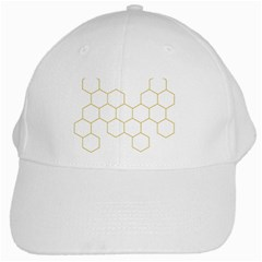 Honeycomb Pattern Graphic Design White Cap by picsaspassion