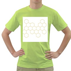Honeycomb Pattern Graphic Design Green T Shirt by picsaspassion