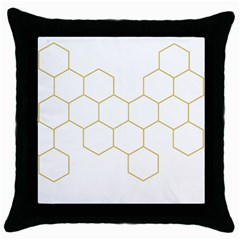 Honeycomb Pattern Graphic Design Throw Pillow Case (black) by picsaspassion