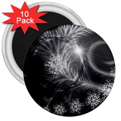 Silver Feather And Ball Decoration 3  Magnets (10 Pack)