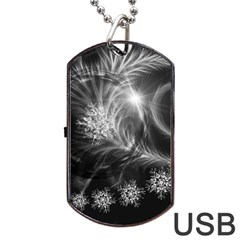 Silver Feather And Ball Decoration Dog Tag Usb Flash (one Side) by picsaspassion