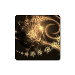 Golden Feather And Ball Decoration Square Magnet by picsaspassion