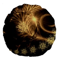 Golden Feather And Ball Decoration Large 18  Premium Round Cushions by picsaspassion