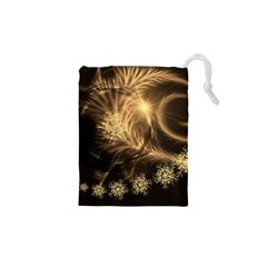 Golden Feather And Ball Decoration Drawstring Pouches (xs)  by picsaspassion