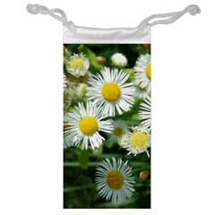 White Summer Flowers, Watercolor Painting Jewelry Bags by picsaspassion