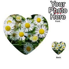 White Summer Flowers, Watercolor Painting Multi Purpose Cards (heart)