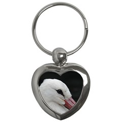 Wild Stork Bird, Close Up Key Chains (heart)  by picsaspassion