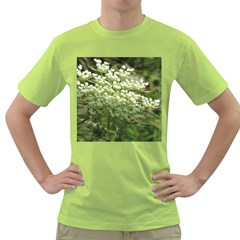 White Summer Flowers Green T Shirt by picsaspassion