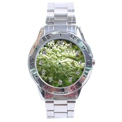 White Summer Flowers Stainless Steel Analogue Watch by picsaspassion