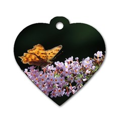 Butterfly Sitting On Flowers Dog Tag Heart (two Sides) by picsaspassion