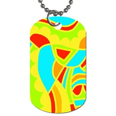 Colorful Decor Dog Tag (one Side) by Valentinaart