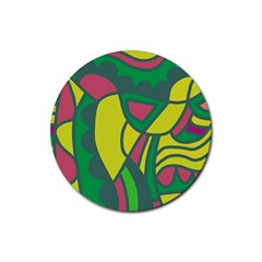 Green Abstract Decor Rubber Coaster (round)  by Valentinaart