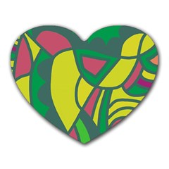 Green Abstract Decor Heart Mousepads by Valentinaart