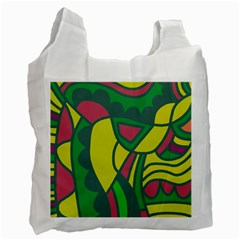 Green Abstract Decor Recycle Bag (two Side)  by Valentinaart
