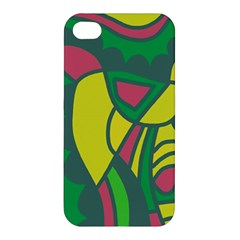 Green abstract decor Apple iPhone 4/4S Premium Hardshell Case