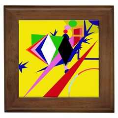 Yellow Abstraction Framed Tiles by Valentinaart