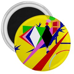 Yellow Abstraction 3  Magnets by Valentinaart
