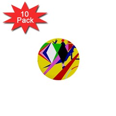 Yellow Abstraction 1  Mini Buttons (10 Pack)  by Valentinaart