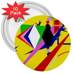 Yellow Abstraction 3  Buttons (10 Pack)  by Valentinaart