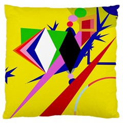 Yellow Abstraction Standard Flano Cushion Case (two Sides) by Valentinaart
