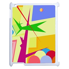 Colorful Abstract Art Apple Ipad 2 Case (white) by Valentinaart