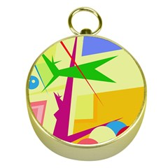 Colorful Abstract Art Gold Compasses by Valentinaart