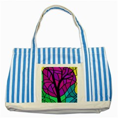 Decorative Tree 2 Striped Blue Tote Bag by Valentinaart
