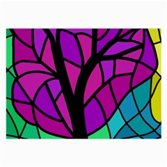 Decorative Tree 2 Large Glasses Cloth (2 Side) by Valentinaart