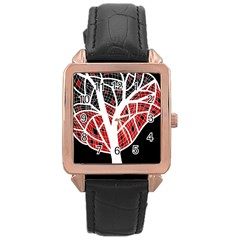 Decorative Tree 3 Rose Gold Leather Watch  by Valentinaart
