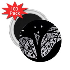Black And White Tree 2 25  Magnets (100 Pack)  by Valentinaart