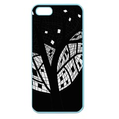 Black And White Tree Apple Seamless Iphone 5 Case (color) by Valentinaart