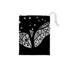Black And White Tree Drawstring Pouches (small)  by Valentinaart