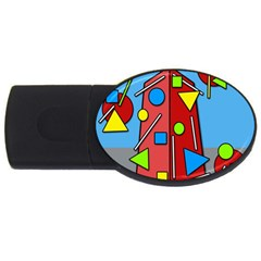 Crazy Building Usb Flash Drive Oval (2 Gb)  by Valentinaart