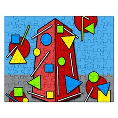 Crazy Building Rectangular Jigsaw Puzzl by Valentinaart