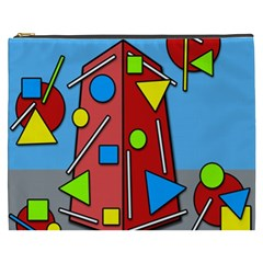 Crazy Building Cosmetic Bag (xxxl)  by Valentinaart