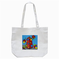 Crazy Building Tote Bag (white) by Valentinaart