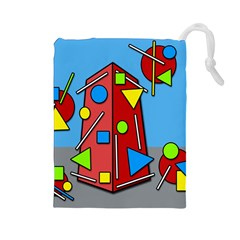 Crazy Building Drawstring Pouches (large)  by Valentinaart