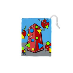 Crazy Building Drawstring Pouches (xs)  by Valentinaart