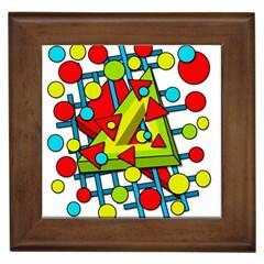 Crazy Geometric Art Framed Tiles by Valentinaart