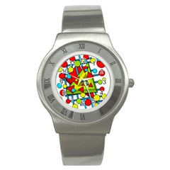 Crazy Geometric Art Stainless Steel Watch by Valentinaart